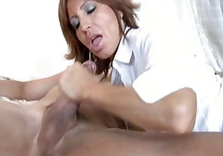 Brunette milf with amazing boobies sucks and