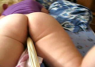 Big Ass Wife get wooden stick in her horny bush