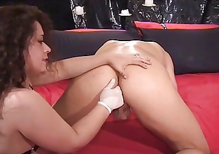 Nasty milf brunette fucking hunk with strapon