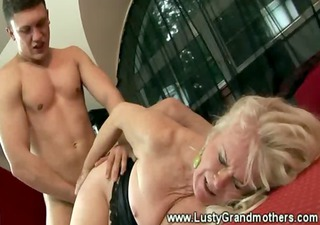 wild granny in stocking hirsute pussy group-fucked
